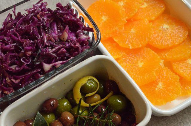 テーブルが華やぐ脇役3種 紫キャベツのマリネ/オリーブのマリネ/オレンジのマリネ